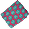 Magenta base Green dots allover print Pure cotton fabric (per meter price) PC429