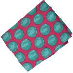 Magenta base Green dots allover print Pure cotton fabric PC429