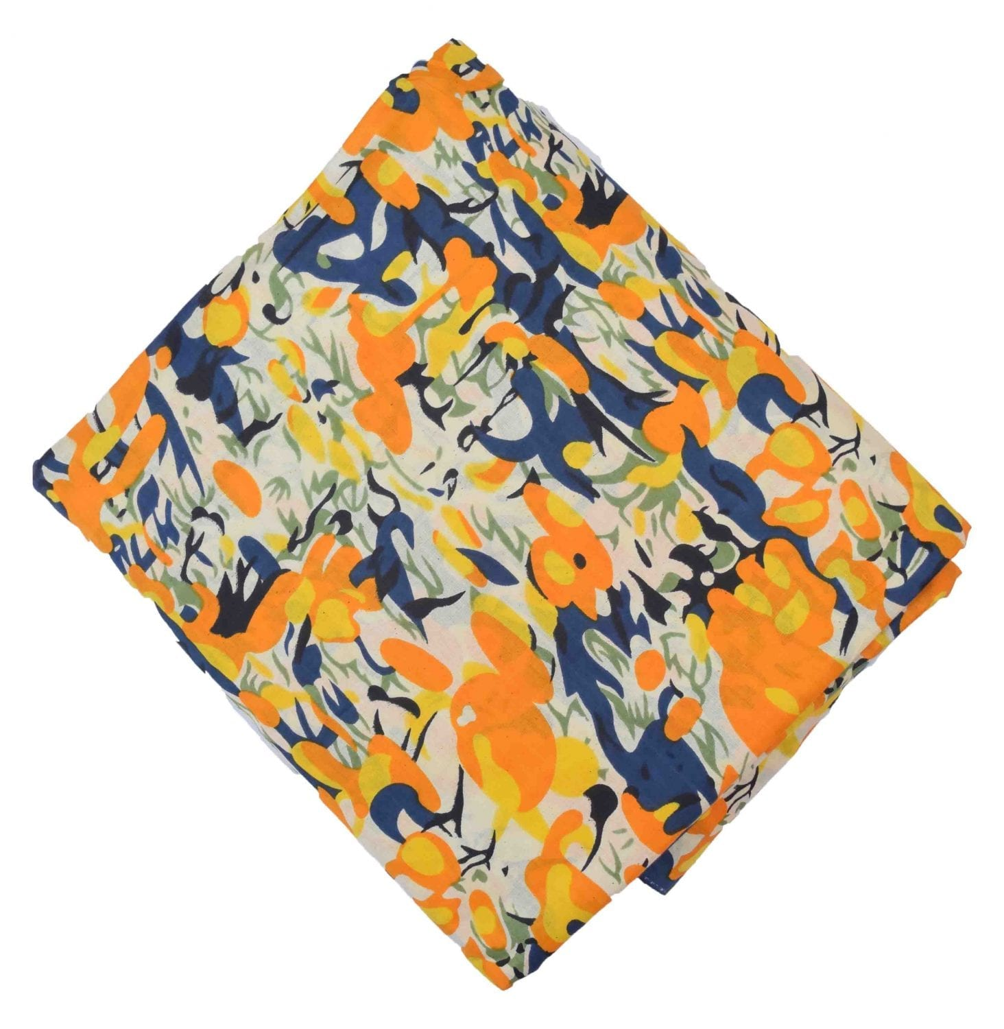 Yellow multicolour allover print Pure cotton fabric PC430 1