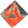 Orange Grey allover print Pure cotton fabric (per meter price) PC431