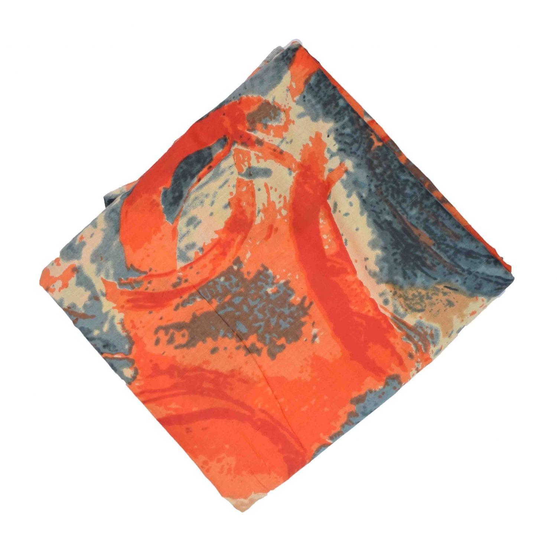 Orange Grey allover print Pure cotton fabric PC431 1