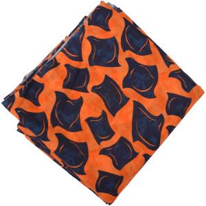 Orange Black allover print Pure cotton fabric PC432