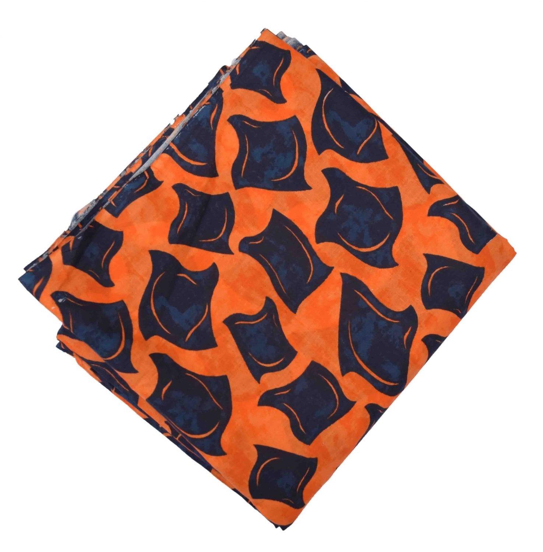 Orange Black allover print Pure cotton fabric PC432 1
