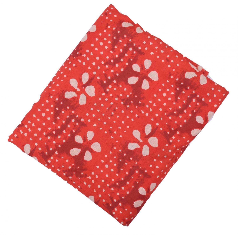 Red white allover print Pure cotton fabric PC433 1