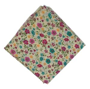 Cream Base Multicolour Flowers allover print Pure cotton fabric PC443