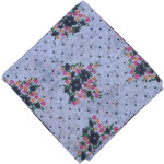 Grey Flowers allover print Pure cotton fabric PC445