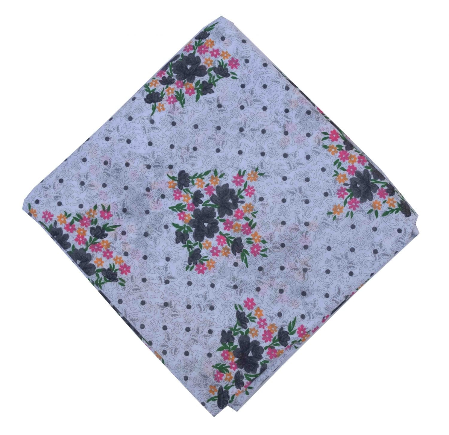 Grey Flowers allover print Pure cotton fabric PC445 1