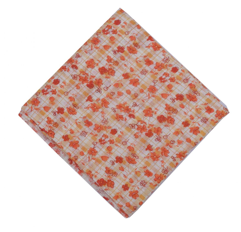 Small Orange Flowers allover print Pure cotton fabric PC448 1