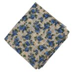 Blue Flowers allover print Pure cotton fabric PC450