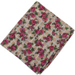 Dark Pink Flowers allover print Pure cotton fabric PC451