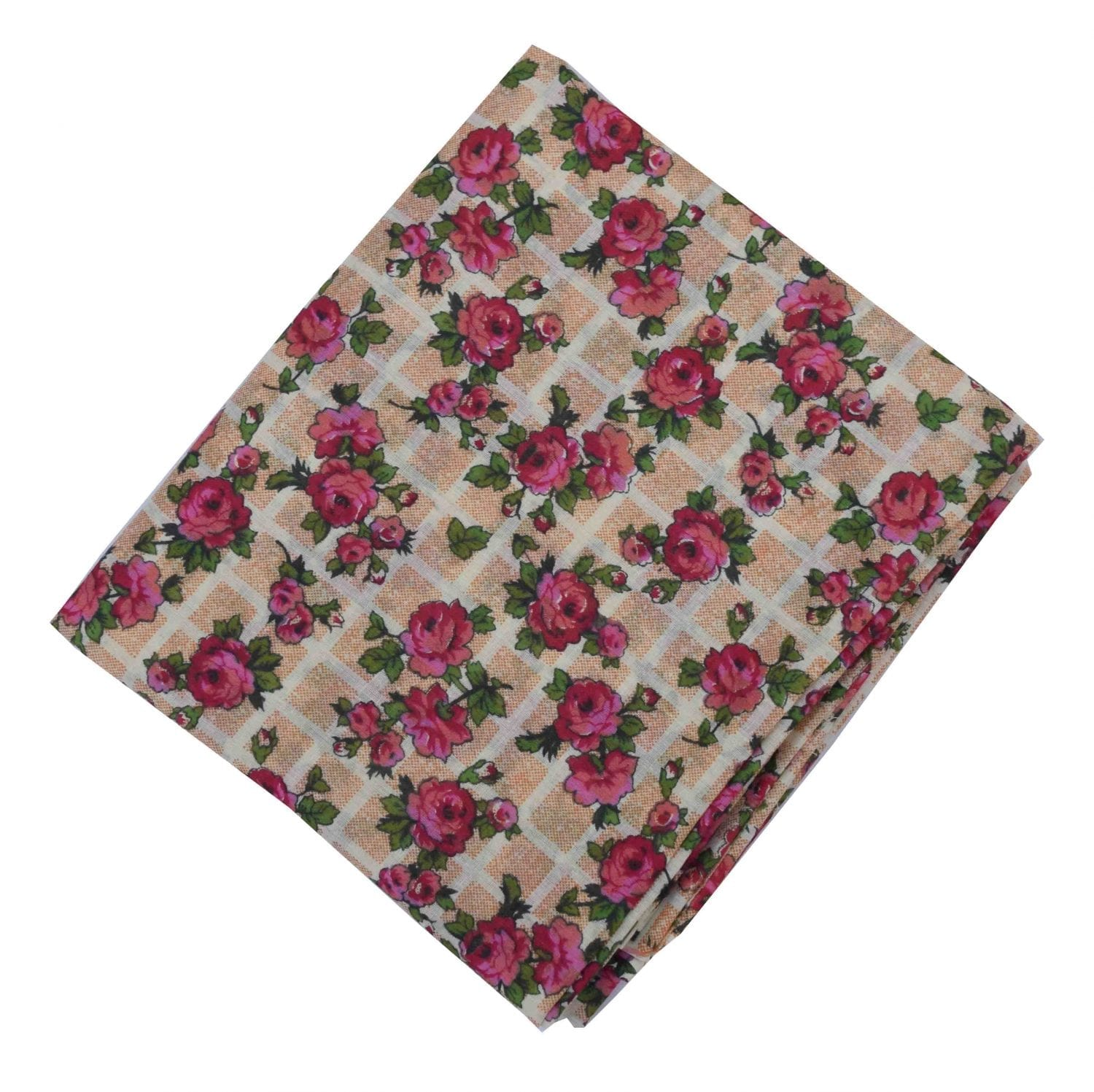 Dark Pink Flowers allover print Pure cotton fabric PC451 1