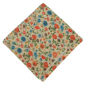 Orange Blue Flowers allover printed Pure cotton fabric PC453
