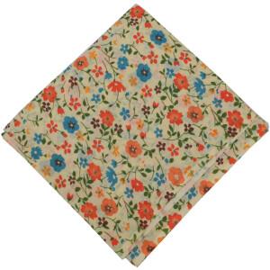 Orange Blue Flowers allover printed Pure cotton fabric PC453