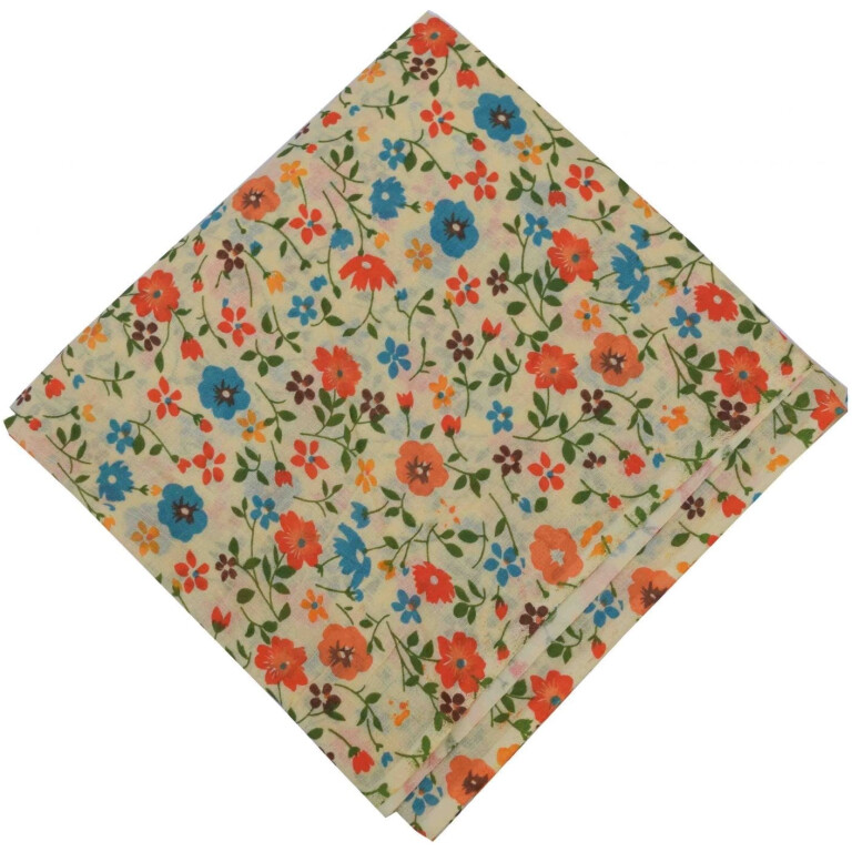 Orange Blue Flowers allover printed Pure cotton fabric (Price by meters) PC453