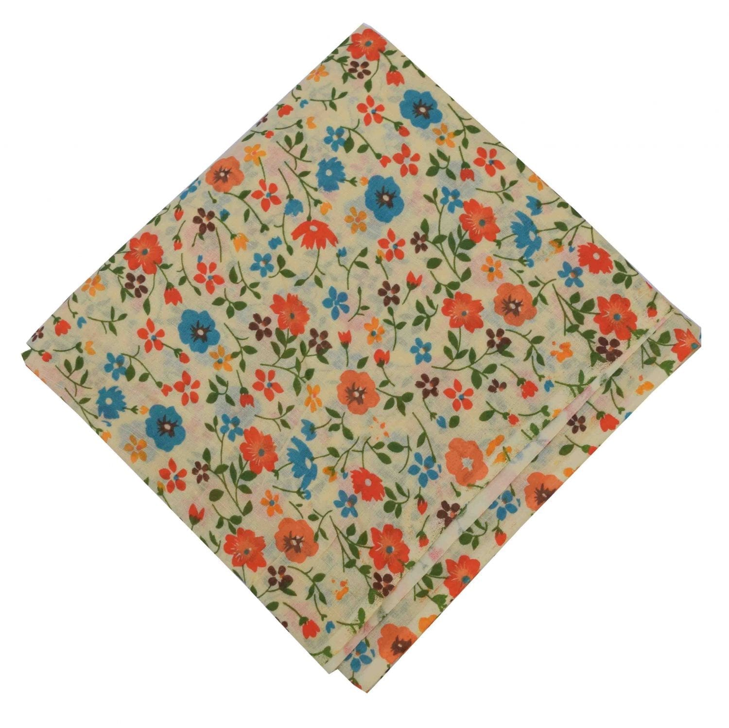 Orange Blue Flowers allover printed Pure cotton fabric PC453 1
