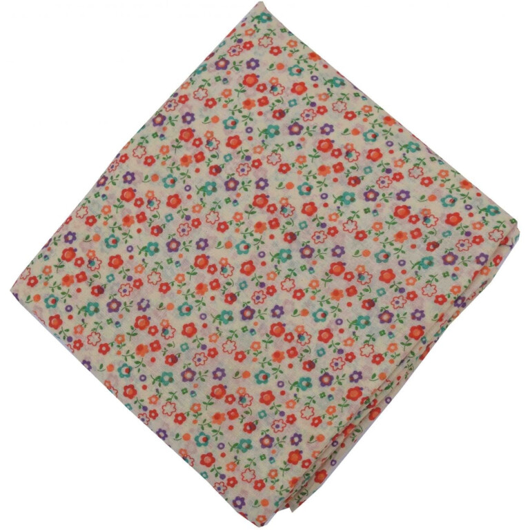 Small orange purple Flowers allover printed Pure cotton fabric (Price by meters) PC455
