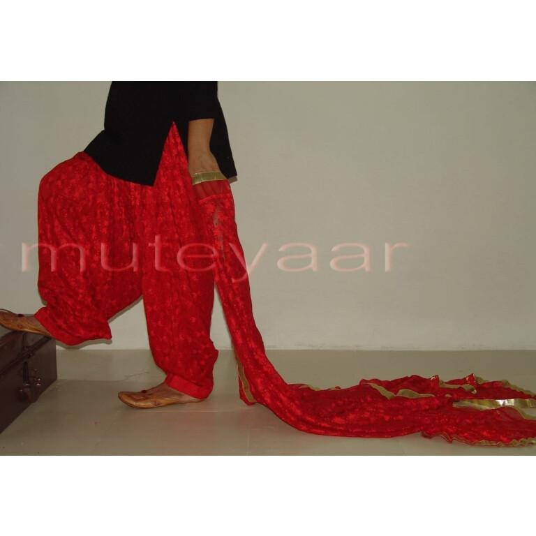 RED PHULKARI Patiala Salwar with matching Dupatta PHS08