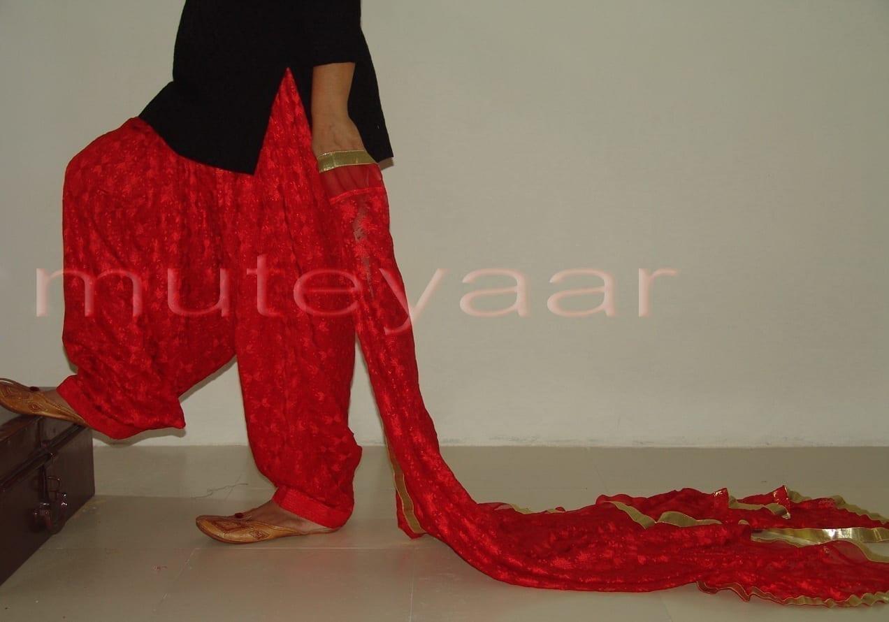 RED PHULKARI Patiala Salwar with matching Dupatta PHS08 1