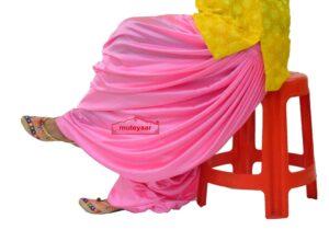 Pink Satin Silk Maharani Patiala Salwar – Custom Stitched