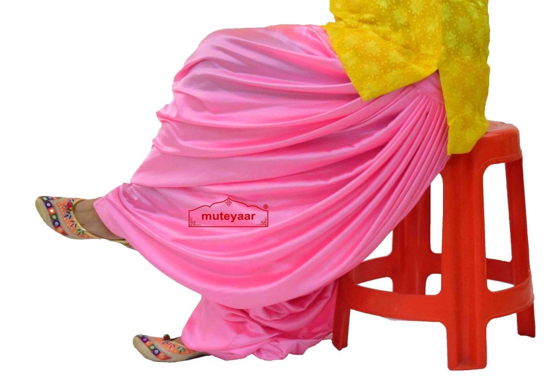 Pink Satin Silk Maharani Patiala Salwar - Custom Stitched 1