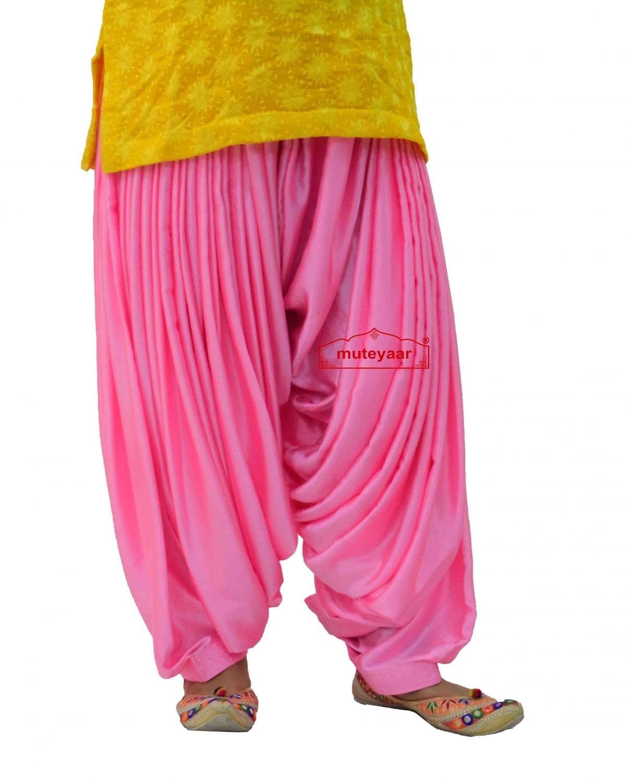 Pink Satin Silk Maharani Patiala Salwar - Custom Stitched 2