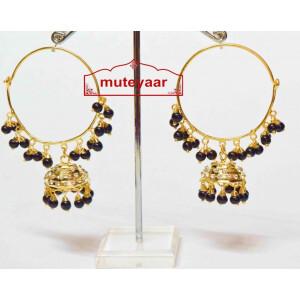 Black Beads Jadau Gold Polished Traditional Punjabi Earrings Bali set J0136