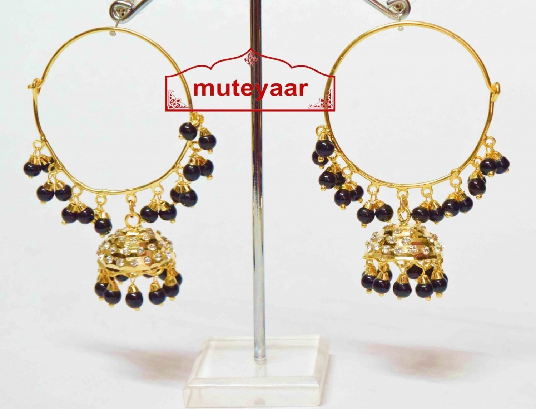 Black Beads Jadau Gold Polished Traditional Punjabi Earrings Bali set J0136 1