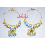 Firozi Beads Jadau Gold Polished Traditional Punjabi Earrings Bali set J0137