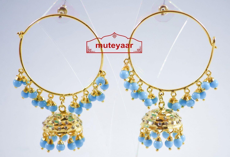 Firozi Beads Jadau Gold Polished Traditional Punjabi Earrings Bali set J0137 1
