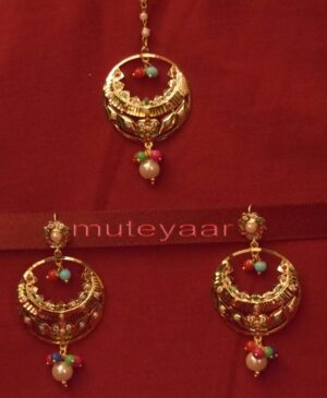 Gold Plated Traditional Punjabi Jewellery Earrings + Tikka set J0235
