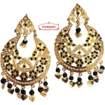 Black Jadau Jewellery Gold Polish Traditional Punjabi Earrings Jhumka J0256