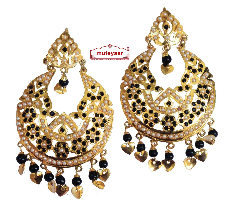 Black Jadau Jewellery Gold Polish Traditional Punjabi Earrings Jhumka J0256 1