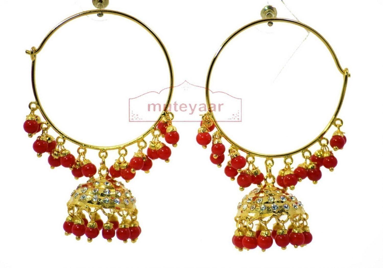 Red Beads Zircons Jadau Gold Plated Traditional Punjabi Jewellery Earrings Bali set J0293 1