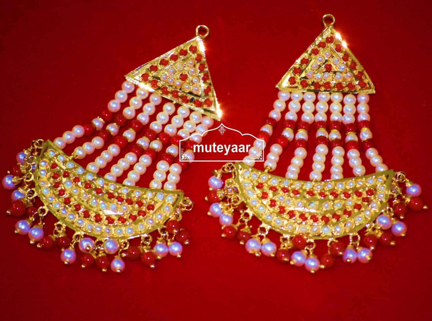 Gold Plated Jadau Punjabi Traditional Jewellery Earrings Long Jhumka J0296 1