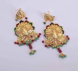 Peacock design Jadau Punjabi Traditional Jewellery Earrings Jhumka J0299