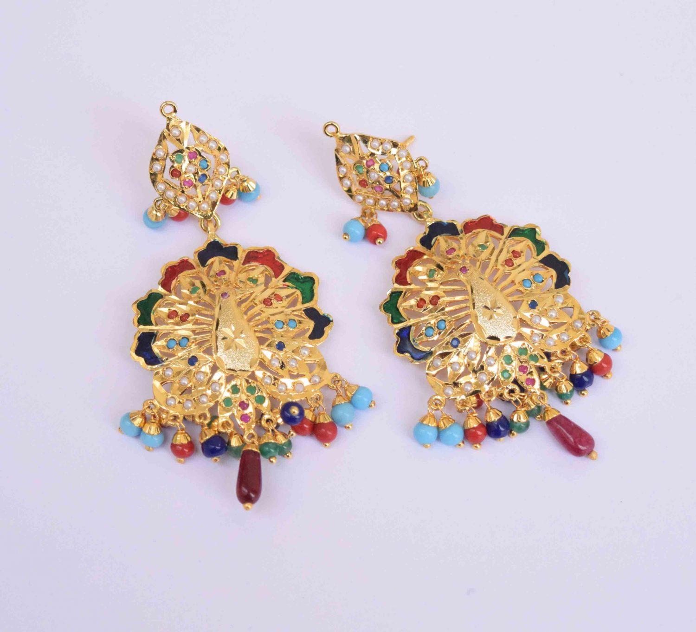 Peacock design Jadau Punjabi Traditional Jewellery Earrings Jhumka J0300 1