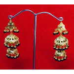 Black Beads Jadau Gold Polished Traditional Punjabi Jhumki Earrings set J0360