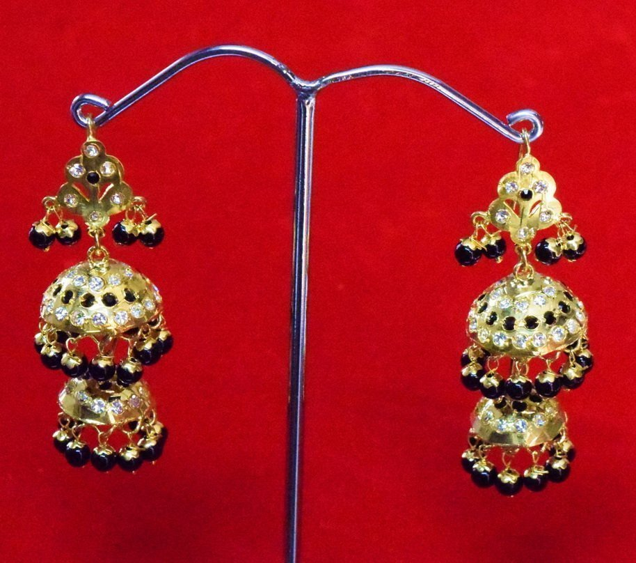Black Beads Jadau Gold Polished Traditional Punjabi Jhumki Earrings set J0360 1