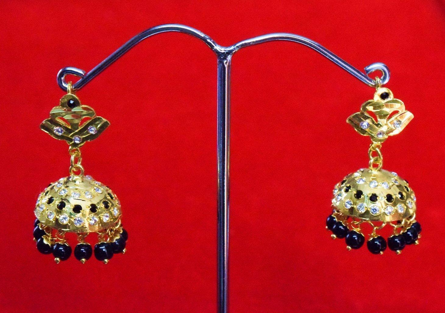 Black Beads Jadau Gold Polished Traditional Punjabi Jhumki Earrings set J0361 1