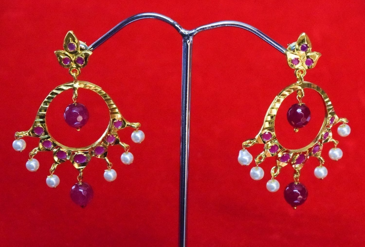 Jadau Gold Polished Traditional Punjabi Earrings set J0362 1