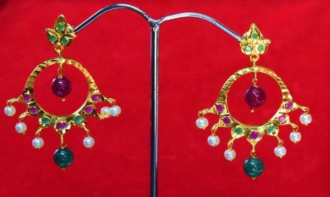 Jadau Gold Polished Traditional Punjabi Earrings set J0364 1