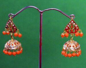 Jadau Gold Polished Traditional Punjabi Jhumki Earrings set J0367