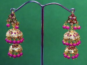 Magenta Beads Jadau Gold Polished Traditional Punjabi Jhumki Earrings set J0370