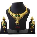 Gold Plated Jadau Bridal Wedding Necklace Earrings set J0377