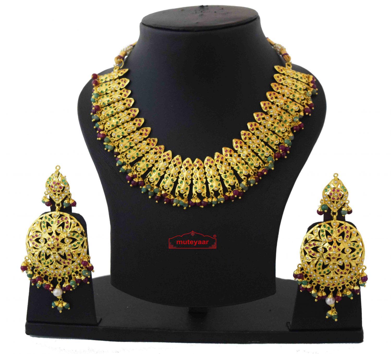 Gold Plated Jadau Bridal Wedding Necklace Earrings set J0378 1
