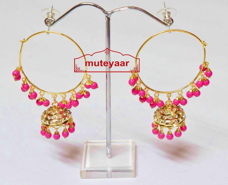 Magenta Beads Jadau Gold Polished Traditional Punjabi Earrings Bali set J0391 1