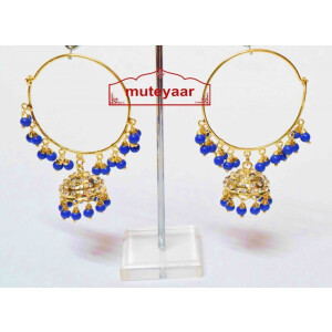 Blue Beads Jadau Gold Polished Traditional Punjabi Earrings Bali set J0392