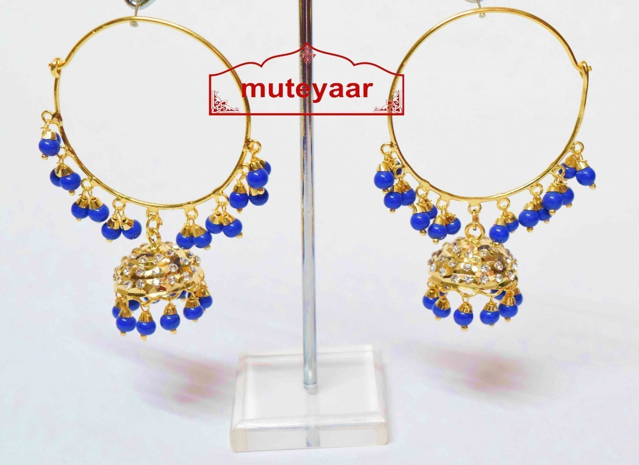 Blue Beads Jadau Gold Polished Traditional Punjabi Earrings Bali set J0392 1