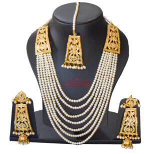 Gold Polish Traditional Punjabi Jadau White Maharani Haar Set J0404