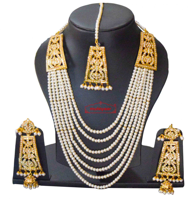 Gold Polish Traditional Punjabi Jadau White Maharani Haar Set J0404 1